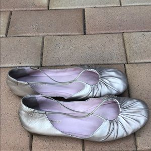 Taryn Rose gold Alessandra leather ballet flats